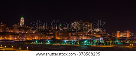 Panorama of Quebec city at night in the winter (Quebec,Canada) - stock photo