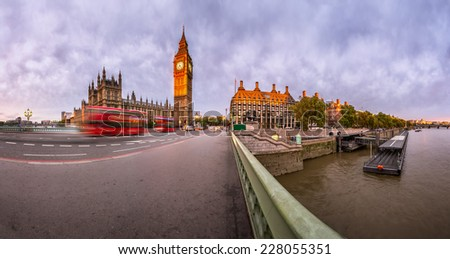 Panorama of Queen Elizabeth Clock Tower and Westminster Palace in the Morning, London, United Kingdom - stock photo