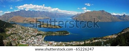 Panorama of Queenstown - stock photo