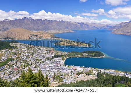 Panorama of Queenstown - Queenstown (Maori: Tahuna) is a resort town in Otago in the south-west of New Zealand's South Island. - stock photo