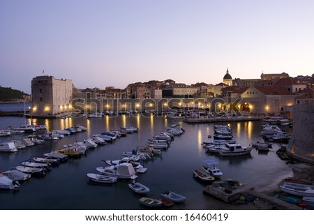Panorama of renaissance, city Dubrovnik in sunset, Croatia