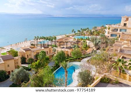 panorama of resort on Dead Sea coast, Jordan - stock photo