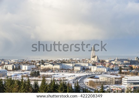 Panorama of Reykjavik seen from Perlan in winter. The Hallgrimskirkja church, Iceland. - stock photo