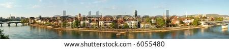 Panorama of Rhine River, Basil, Switzerland - stock photo
