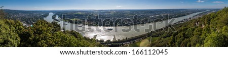 Panorama of Rhine valley from Drachenfels, Germany - stock photo