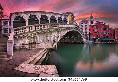 Panorama of Rialto Bridge and San Bartolomeo Church at Sunrise, Venice, Italy - stock photo