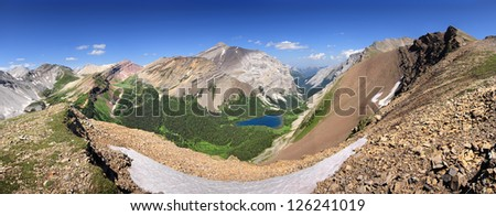 Panorama of Ribbon Lake, Kananaskis Park, Alberta, Canada. As view from 20 minute hike up from Guinn Pass. Look closely, you should be able to sse the Wardens Cabin. - stock photo