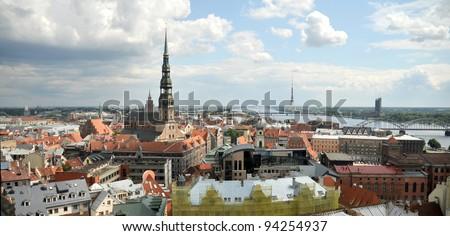 panorama of Riga - stock photo