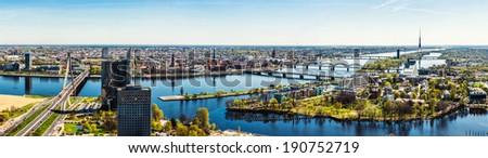 Panorama of Riga city. Latvia - stock photo