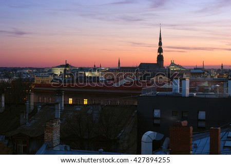 Panorama of Riga during the sunset, Latvia