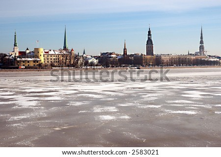 Panorama of Riga in the winter
