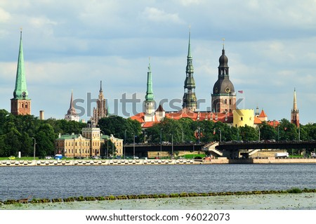 Panorama of Riga old city - stock photo