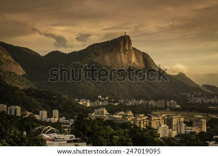 Panorama of Rio de Janeiro with Corcovado Hill at sunrise, Brazil - stock photo