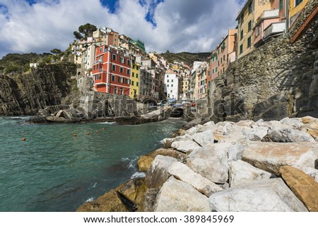 Panorama of Riomaggiore and stunning colorful buildings,Cinque Terre National Park,Liguria,Italy,Europe