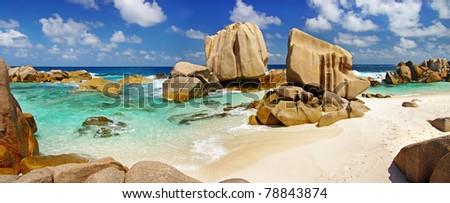 panorama of rocky beach on Seychelles - La digue island - stock photo