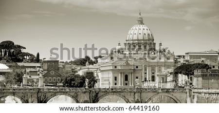 Panorama of Rome and Saint Peter's Basilica in Vatican, Italia. - stock photo