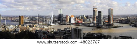 Panorama of Rotterdam 2010-03-02 - stock photo