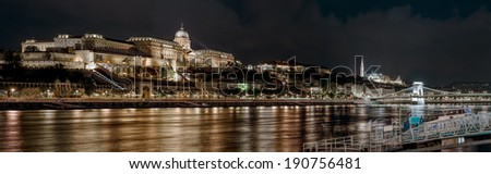 Panorama of Royal Palace or Buda Castle at night. Budapest, Hungary - stock photo