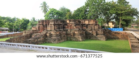 Panorama of ruin pagoda remain only base at  old temple in Chaiya city,Surat Thani,Thailand