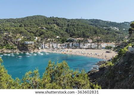 Panorama of Sa Riera beach in Costa Brava, Catalonia, Spain - stock photo