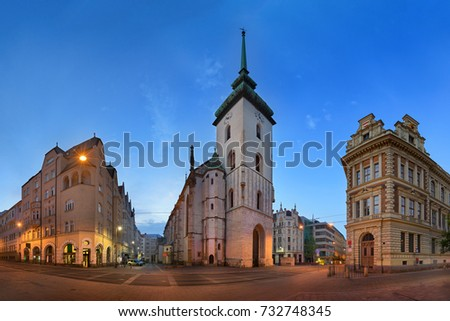Panorama of Saint James Church in the Morning, Brno, Czech Republic