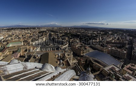 Panorama of Saint Peters Square in Rome from above and some near buildings - stock photo