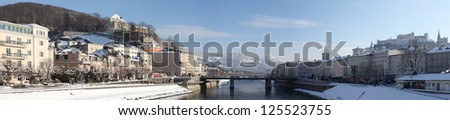 Panorama of Salzburg in winter with a lot of snow - Austria - stock photo