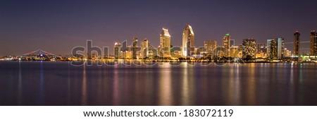 panorama of San Diego - stock photo