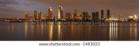 Panorama of San Diego downtown at dusk, shot from Coronado island. - stock photo