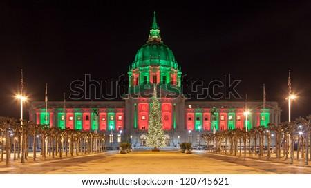 Panorama of San Francisco City Hall illuminated by Christmas lights. - stock photo