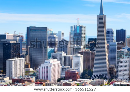 Panorama of San Francisco downtown skyscrapers - stock photo