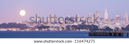 Panorama of San Francisco Financial district with moon rise - stock photo