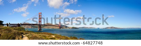 panorama of San Francisco's Golden Gate Bridge and the Bay - stock photo
