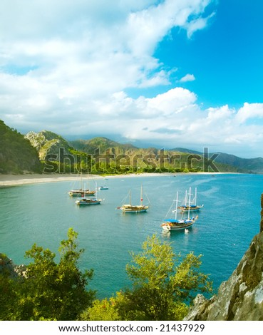Panorama of sea coast with a group os sailboats in sunny weather