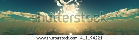 panorama of sea sunset, the view of the ocean sunrise, sunset at sea, tropical sunset.3D Rendering - stock photo