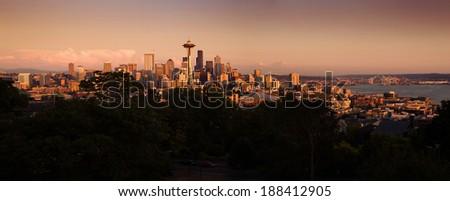 Panorama of Seattle city during beautiful warm sunset - stock photo
