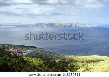 Panorama of Senj, Zengg, Croatia, With Island Prvic in the background - stock photo