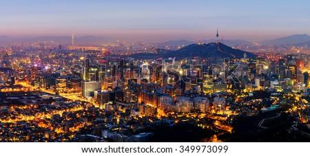 Panorama of Seoul City Skyline , South Korea - stock photo