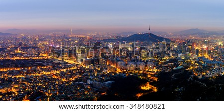 Panorama of Seoul City, South Korea