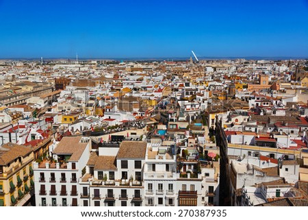Panorama of Sevilla Spain - view from cathedral belltower - stock photo