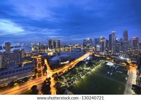 Panorama of Singapore - stock photo