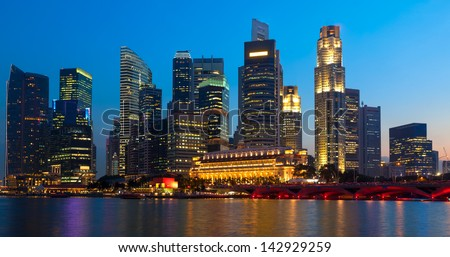 Panorama of Singapore downtown skyling in evening