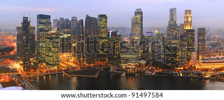 Panorama of Singapore from Marina Bay Sand Resort at beautiful sunset