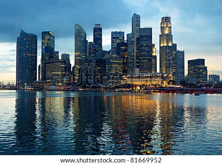 Panorama of Singapore in the beautiful evening - stock photo