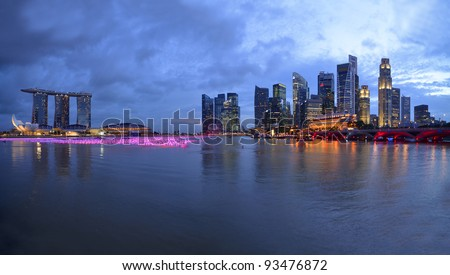 Panorama of Singapore skyline and river - stock photo