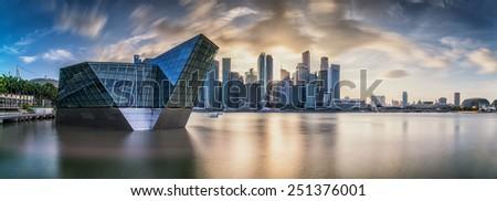 panorama of Singapore skyline at Marina Bay - stock photo