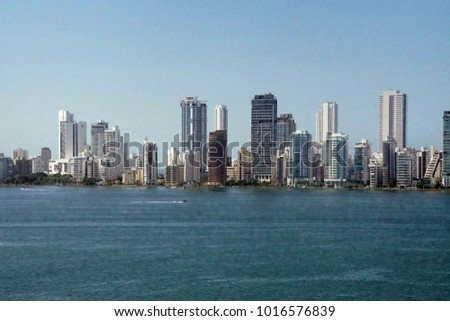 Panorama of skyline of new city of Cartagena, Colombia