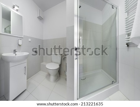 Panorama of small and compact bathroom in scandinavian style - stock photo