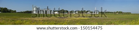 panorama of small town and field in south dakota,  - stock photo
