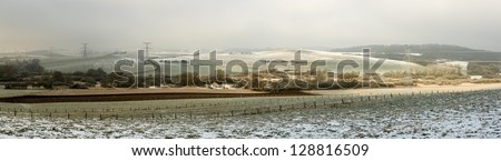 Panorama of Snow covered farm in Lorraine, France - stock photo